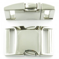 Side Release Buckle 15mm Silver Metal