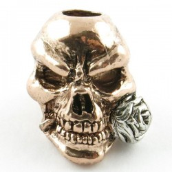 Rose Skull Bead Antique Rhodium & 18k Gold