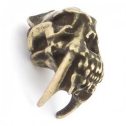 Sabretooth Skull Bead Roman Brass Oxidized