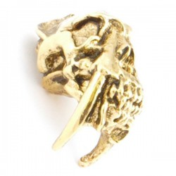 Sabretooth Skull Bead Antique 18K Gold