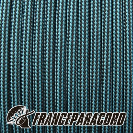 Paracord 550 - Neon Turquoise & Black Stripes