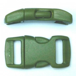 Curved Side Release Buckle 15mm Military Green