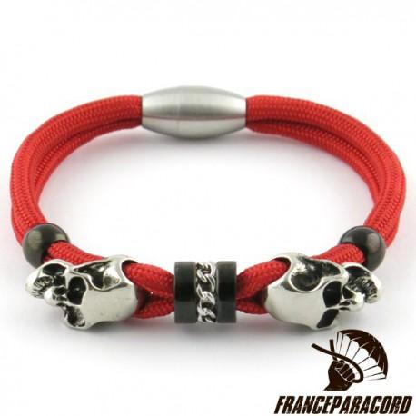 Bracelet Spartan Têtes de mort Charm fermoir magnétique