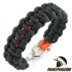 Cobra 2 colors Paracord Bracelet with Shackle & Spring Snap