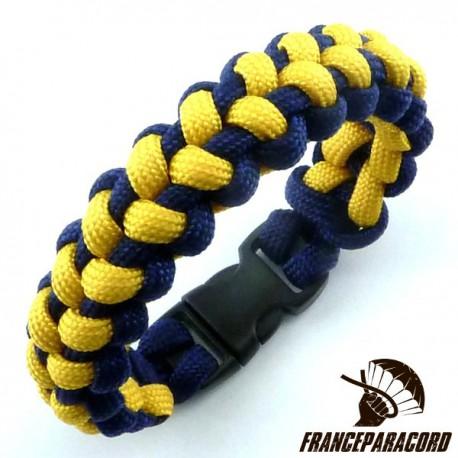 Stitched solomon bar 2 colors Paracord Bracelet with Side Release Buckle