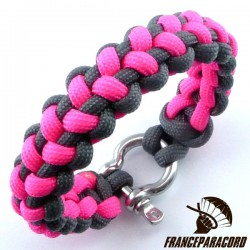 Stitched solomon bar 2 colors Paracord Bracelet with Shackle