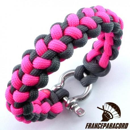 Stitched solomon bar 2 colors Paracord Bracelet with Shackle