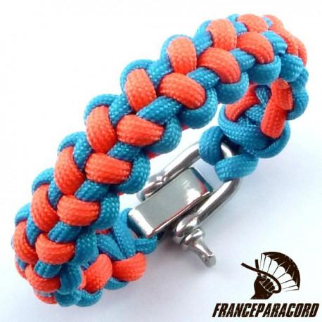 Stitched solomon bar 2 colors Paracord Bracelet with Adjustable Shackle
