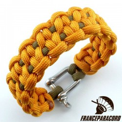 Dotted blaze bar 2 colors Paracord Bracelet with Shackle