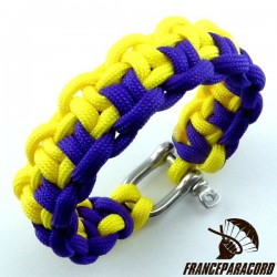 Duality bar 2 colors Paracord Bracelet with Shackle