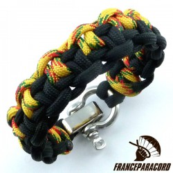 Duality bar 2 colors Paracord Bracelet with Adjustable Shackle