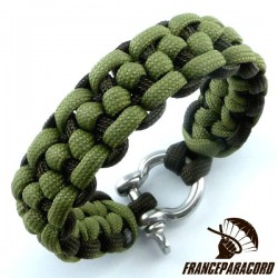 Morse code bar 2 colors Paracord Bracelet with Shackle