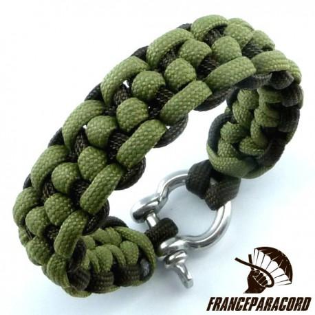 Morse code bar 2 colors Paracord Bracelet with Shackle