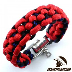 Morse code bar 2 colors Paracord Bracelet with Adjustable Shackle