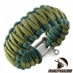 Bracelet paracord King Cobra bicolore avec manille