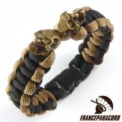 Cobra Bracelet With Two Charm Skulls & Side Release Buckle