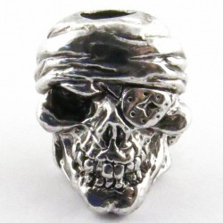 Tête de mort Pirate Antique Rhodium